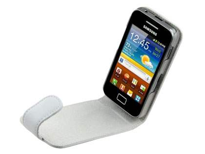 Samsung S5830 Galaxy Ace Genuine Leather Flip Case - White