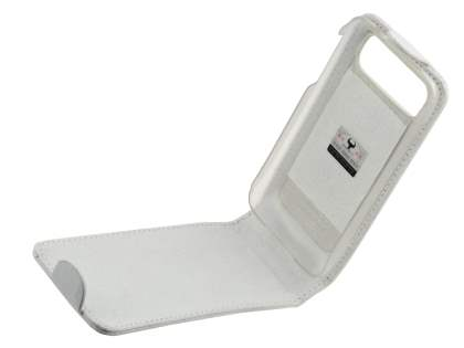 Genuine Leather Flip Case for HTC Legend - White