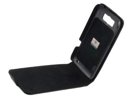 Genuine Leather Flip Case for HTC Sensation XL - Black