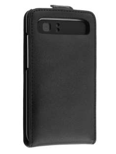 HTC Velocity 4G Genuine Leather Flip Case - Black Leather Flip Case