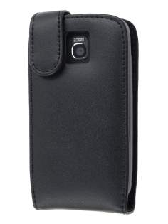 Genuine Leather Flip Case for LG Optimus One P500 - Black