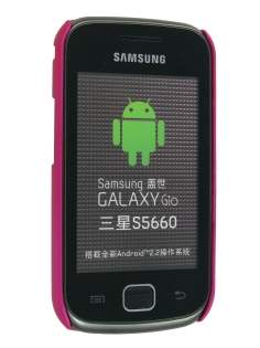Samsung Galaxy Gio S5660 Rubberised Colour Case plus Screen Protector - Hot Pink