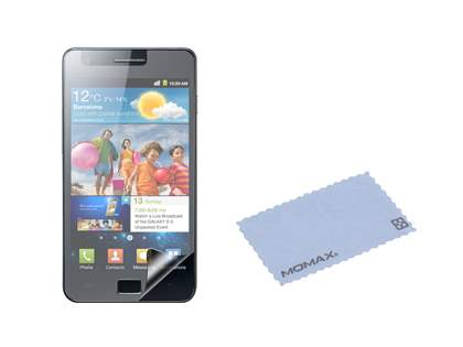 MOMAX iCase Shine plus Screen Protector for Samsung I9100 Galaxy S2 - Piano Black