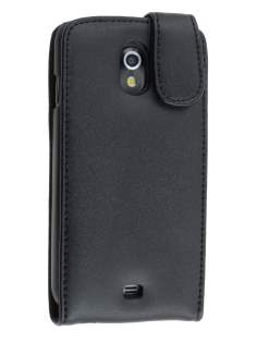 Genuine Leather Flip Case for Samsung I9250 Google Galaxy Nexus - Black Leather Flip Case