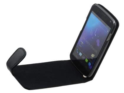 Genuine Leather Flip Case for Samsung I9250 Google Galaxy Nexus - Black