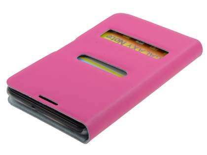 Samsung I9220 Galaxy Note Slim Genuine Leather Portfolio Case - Pink