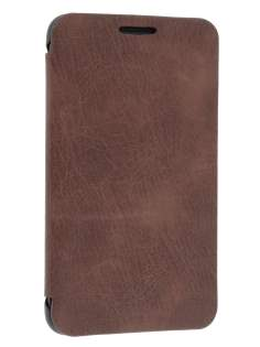 Samsung I9220 Galaxy Note Premium Book-Style Slim Synthetic Leather Flip Case - Brown Leather Wallet Case