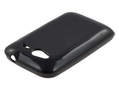 HTC Wildfire S Frosted Colour TPU Gel Case - Black