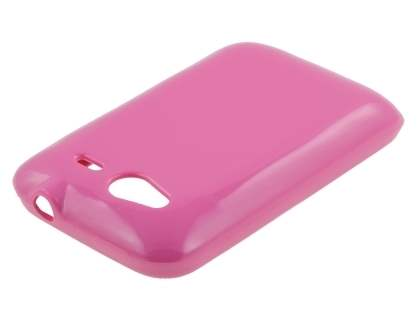 HTC Wildfire S Frosted Colour TPU Gel Case - Hot Pink
