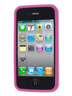 iPhone 4S/4 Frosted Colour TPU Gel Case - Hot Pink