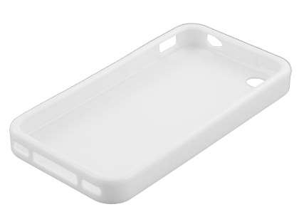 iPhone 4S/4 Frosted Colour TPU Gel Case - Pearl White