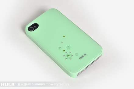ROCK Diamante-Studded Snowflake Case for Apple iPhone 4S/4 - Baby Green