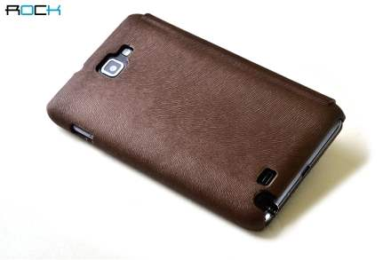 ROCK BigCity Book-Style Synthetic Leather Flip Case for Samsung Galaxy Note - Brown Leather Wallet Case