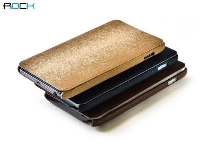 ROCK BigCity Book-Style Synthetic Leather Flip Case for Samsung Galaxy Note - Brown