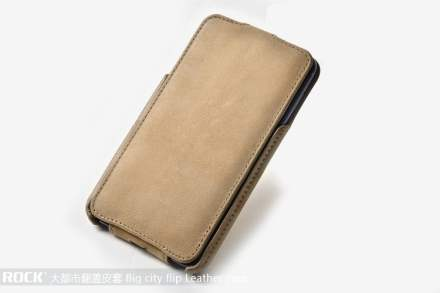 ROCK BigCity Slim Genuine Leather Flip Case for Samsung I9220 Galaxy Note - Beige Leather Flip Case