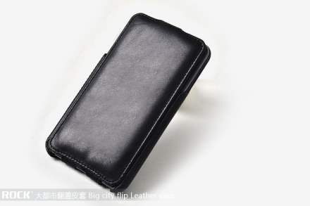 ROCK BigCity Slim Genuine Leather Flip Case for Samsung I9220 Galaxy Note - Black Leather Flip Case