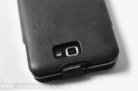 ROCK BigCity Slim Genuine Leather Flip Case for Samsung I9220 Galaxy Note - Black