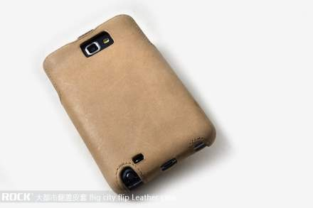 ROCK BigCity Slim Genuine Leather Flip Case for Samsung I9220 Galaxy Note - Beige
