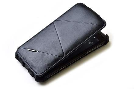 ROCK BigCity Slim Genuine Leather Flip Case for HTC Sensation XL - Black