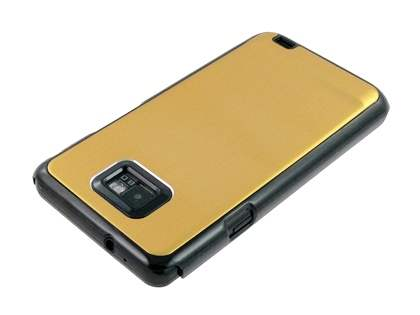 Samsung I9100 Galaxy S2 Brushed Aluminium Case plus Screen Protector - Gold