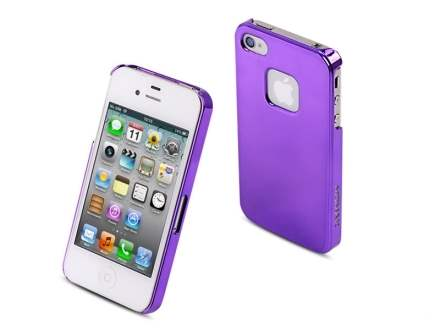 MOMAX Ultra-Thin Metallic Case for Apple iPhone 4S/4 - Purple Hard Case