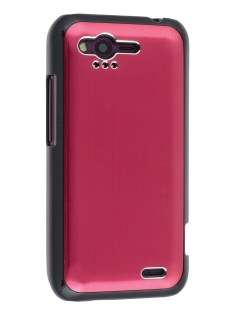 HTC Rhyme Brushed Aluminium Case plus Screen Protector - Burgundy Red Hard Case