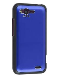 HTC Rhyme Brushed Aluminium Case plus Screen Protector - Ocean Blue Hard Case