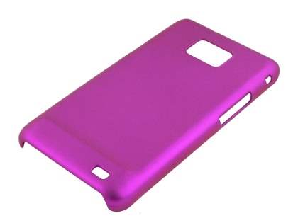 Samsung I9100 Galaxy S2 Rubberised Colour Case plus Screen Protector - Hot Pink