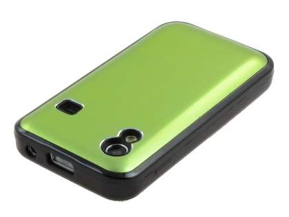 Samsung S5830 Galaxy Ace Brushed Aluminium Case plus Screen Protector - Lime Green