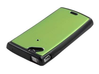 Sony Ericsson Xperia Arc/Arc S Brushed Aluminium Case plus Screen Protector - Lime Green
