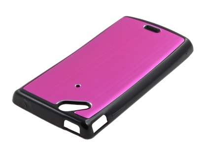 Sony Ericsson Xperia Arc/Arc S Brushed Aluminium Case plus Screen Protector - Hot Pink