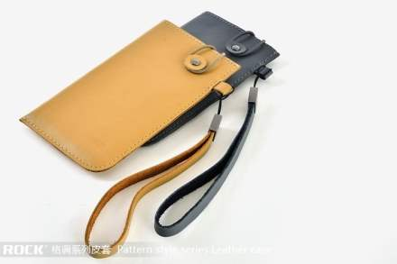 ROCK Pattern style Genuine Leather Slide-in Case with Strap for HTC Velocity 4G - Misty Grey