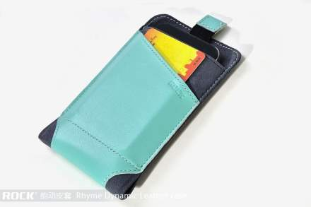 ROCK Rhyme Dynamic Genuine Leather Slide-in Case with Pull-out Strap for Phones - Blue Leather Slide-in Case