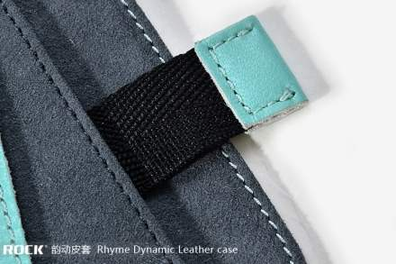 ROCK Rhyme Dynamic Genuine Leather Slide-in Case with Pull-out Strap for Phones - Blue