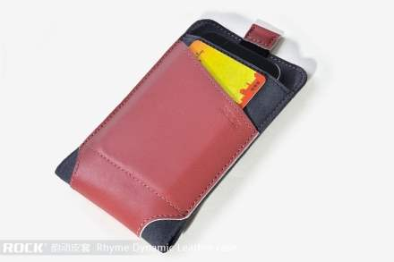 ROCK Rhyme Dynamic Genuine Leather Slide-in Case with Pull-out Strap for Phones - Vermilion Leather Slide-in Case