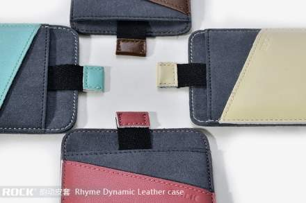 ROCK Rhyme Dynamic Genuine Leather Slide-in Case with Pull-out Strap for Phones - Vermilion