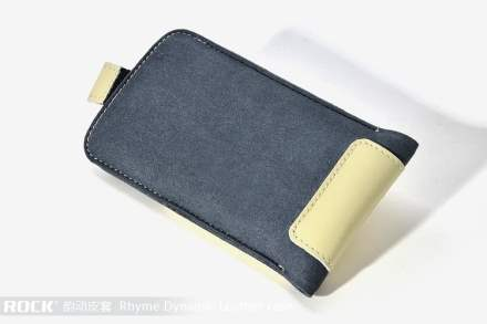 ROCK Rhyme Dynamic Genuine Leather Slide-in Case with Pull-out Strap for Phones - Beige