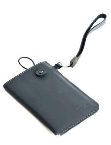 ROCK Pattern style Genuine Leather Slide-in Case with Strap for Phones - Misty Grey