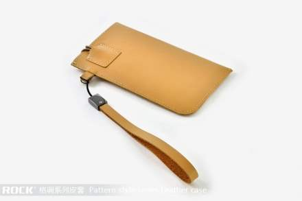 ROCK Pattern style Genuine Leather Slide-in Case with Strap for Samsung Galaxy S2 - Desert Sand