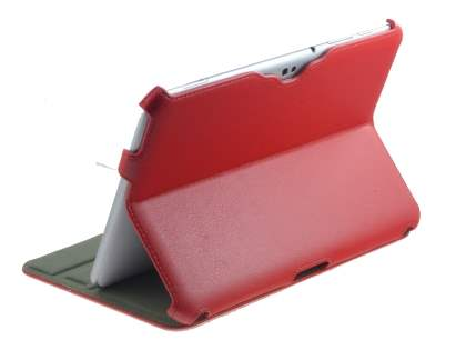Premium Samsung Galaxy Tab 8.9 4G Slim Synthetic Leather Flip Case with Dual-Angle Tilt Stand - Red Leather Flip Case