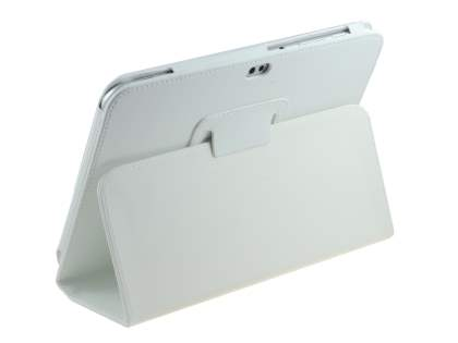 Synthetic Leather Flip Case with Fold-Back Stand for Samsung Galaxy Tab 8.9 4G - White Leather Flip Case