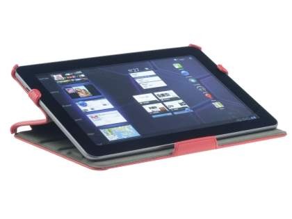 Premium Samsung Galaxy Tab 10.1 Slim Synthetic Leather Flip Case with Multi-Angle Tilt Stand - Rose Red