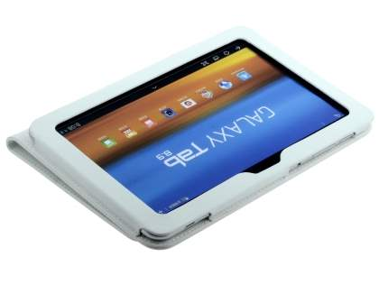 Samsung Galaxy Tab 8.9 4G Synthetic Leather Flip Case with Fold-Back Stand - White