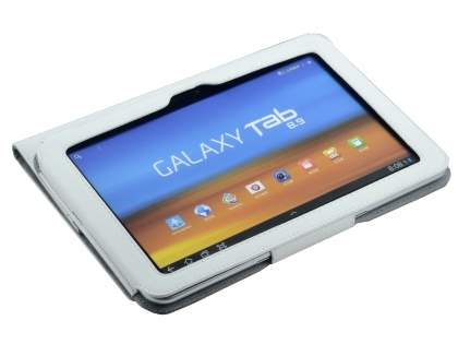 Samsung Galaxy Tab 8.9 4G Synthetic Leather Flip Case with Dual-Angle Tilt Stand - White