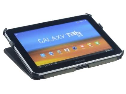 Premium Samsung Galaxy Tab 8.9 4G Slim Synthetic Leather Flip Case with Dual-Angle Tilt Stand - Black