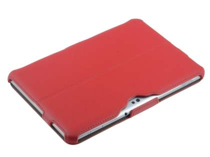 Premium Samsung Galaxy Tab 8.9 4G Slim Synthetic Leather Flip Case with Dual-Angle Tilt Stand - Red