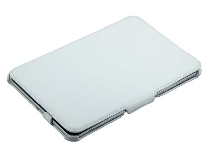 Premium Samsung Galaxy Tab 8.9 4G Slim Synthetic Leather Flip Case with Dual-Angle Tilt Stand - White
