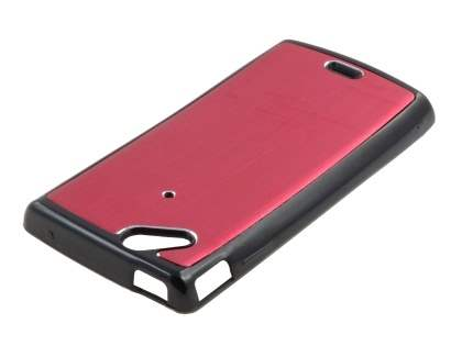 Sony Ericsson Xperia Arc/Arc S Brushed Aluminium Case plus Screen Protector - Burgundy Red