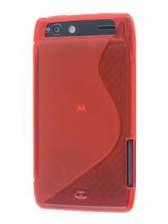 Wave Case for Motorola RAZR - Frosted Red/Red Soft Cover
