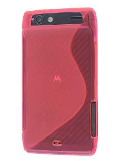 Wave Case for Motorola RAZR - Frosted Pink/Pink Soft Cover
